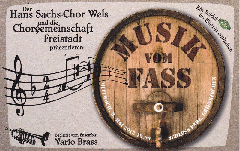 Flyer zu Musik vom Fass im Schloss Parz am 8. Mai 2013
