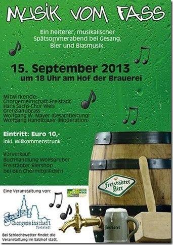 Flyer Musik vom Fass Chorkonzert am 15. Septermber 2013 Hof der Brauerei