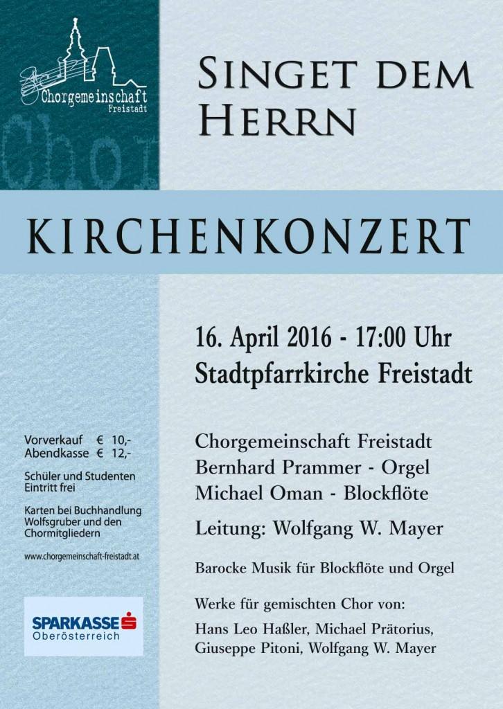 Singet dem Herrn - Kirchenkonzert am 16. April 2016
